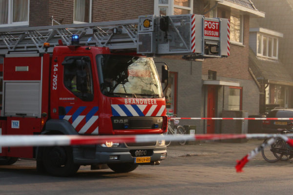 Dutch firetruck in residential area