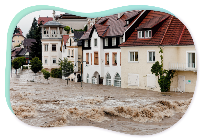 overstroming in woongebied