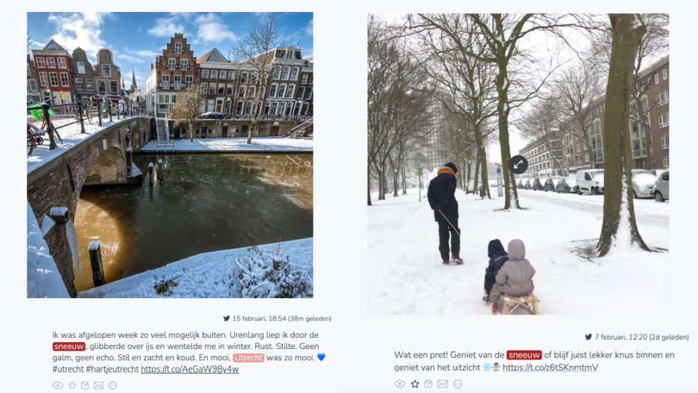 Social media posts of citizens enjoying the snow or the city view with snow